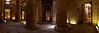Panoramic view of interior of Temple of Seti I, Abydo (click on the picture to enlarge it.)<br /> <br /> Pictured above is the Second Hypostyle Hall, built by Seti I. The entry way on the right opens into the First Hypostyle Hall, which was built by Seti's son Ramses II after his father's death. The lighted room on the far left is the Sanctuary of Seti I. It is one of the seven separate chapels/sanctuaries that line the entire length of the left wall. Each sanctuary is dedicated to one of the following dieties: Horus, Isis, Osiris, Amun-Re, Re-Harakhiti, Ptah, and Seti I.<br /> <br /> Looking at this picture always immediately put me back inside the temple itself.