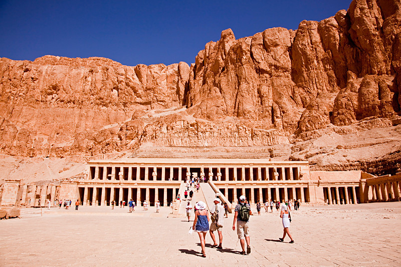 """Hatshepsut's Temple, Luxor's West Bank<br /> <br /> Hatshepsut was the first woman to rule as king of Egypt. The guide in Cairo said I can pronounce the queen's name as """"HasChickenSoup""""."""