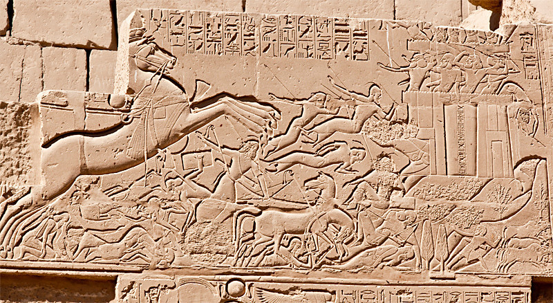 Battle scene on outer wall of Karnak Temple