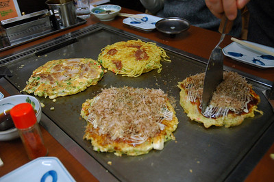 Okonomiyaki - Japanese pizza - for lunch!  You cook it yourself in the middle of your table.