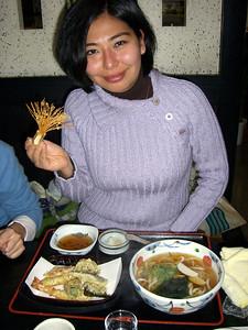 Yoko's Tempura Udon, with a fancy garnish.