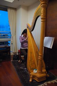 Yuki's harp, played by Junko, in Yuki's Tokyo Apartment.