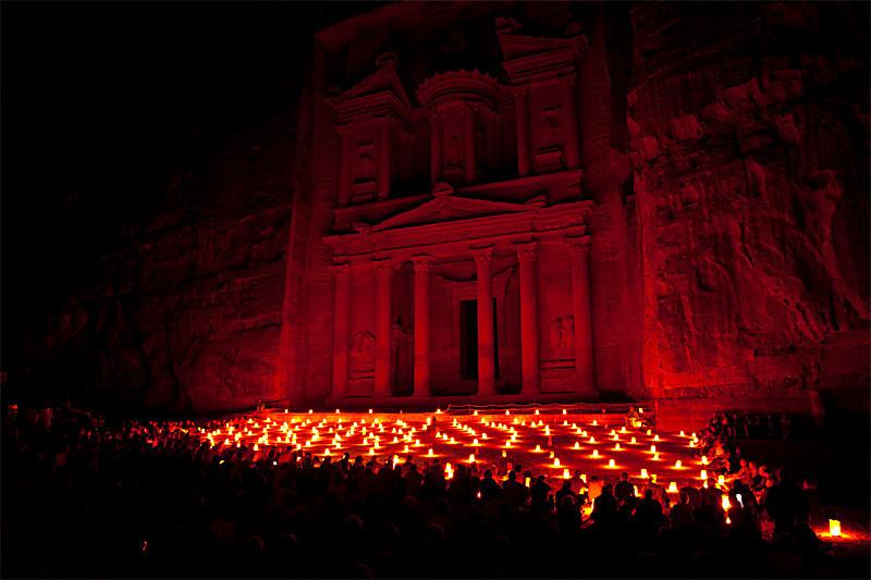 The Treasury. Petra by night.