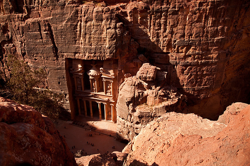 View of the Treasury from atop Jebel al-Khubtha.<br /> <br /> Semi tough hike to get to this viewpoint. Lots and lots of steep steps to climb, but the view was worth it.