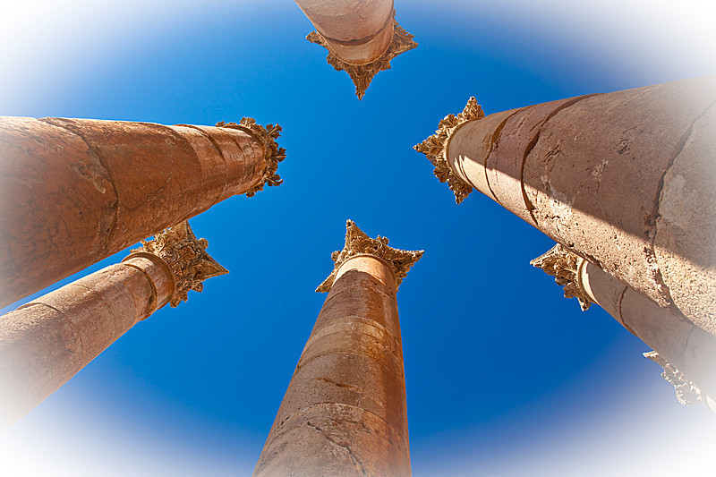 Elaborately carved Corinthian columns at the Temple of Artimis, Jerash.