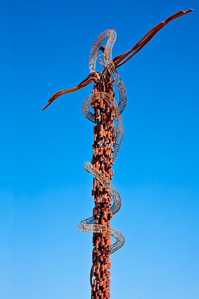 "Bronze memoriat at Mt Nebo.  It ""symbolises the suffering and death of Jesus on the cross and the serpent that 'Moses lifted up' in the desert."" - lonely planet<br /> <br /> Mt Nebo is where Moses is said to have seen the Promised Land. There's a lookout from which you can see on a clear day Jericho, the Dead Sea, the Jordan River, and Jerusalem."