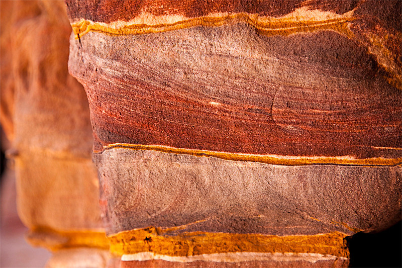 Colorful rock striations at Petra.