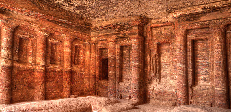 The Colored Triclinium<br /> <br /> This is the only room in the entire funeral complex at Petra that has a carved interior. It was a funerary banqueting hall and was originally covered with painted stucco.
