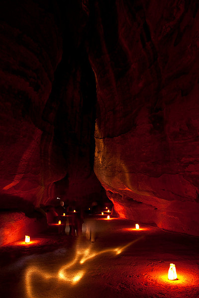 The Siq all lit up for the Petra by Night program.<br /> <br /> The beam of white light in the middle of the picture was the result of people using flashes.