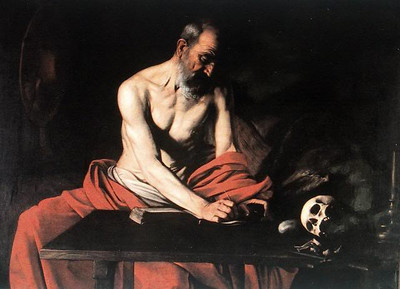 "Caravaggio's ""St. Jerome Writing"", in the Oratory of the Co-Cathedral in Valletta (I did not take this image, found it on the web)"