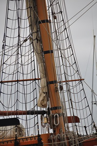 The rigging of the Lady Washington tall ship.