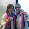 Two members of the Finnish Women's Hockey Team, bronze medalists at the 2010 Vancouver Olympics