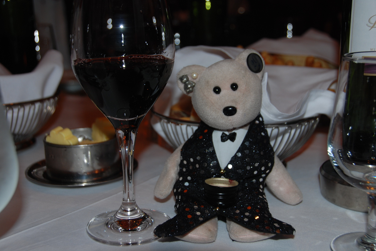 The Bear with his shot glass.