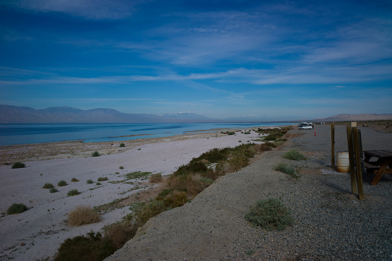 East shore of the Salton Sea, looking back Northwest toward Palm Springs.
