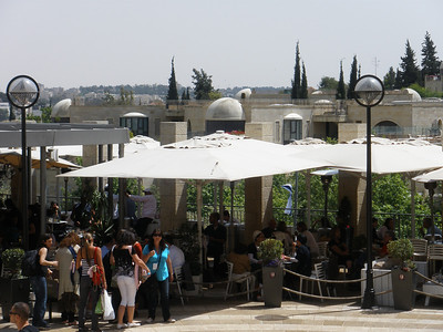 Restaurant at American style shopping mall outside Jaffa Gate
