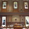 Windows in House Chambers are stained glass tributes to renowned Colorado residents