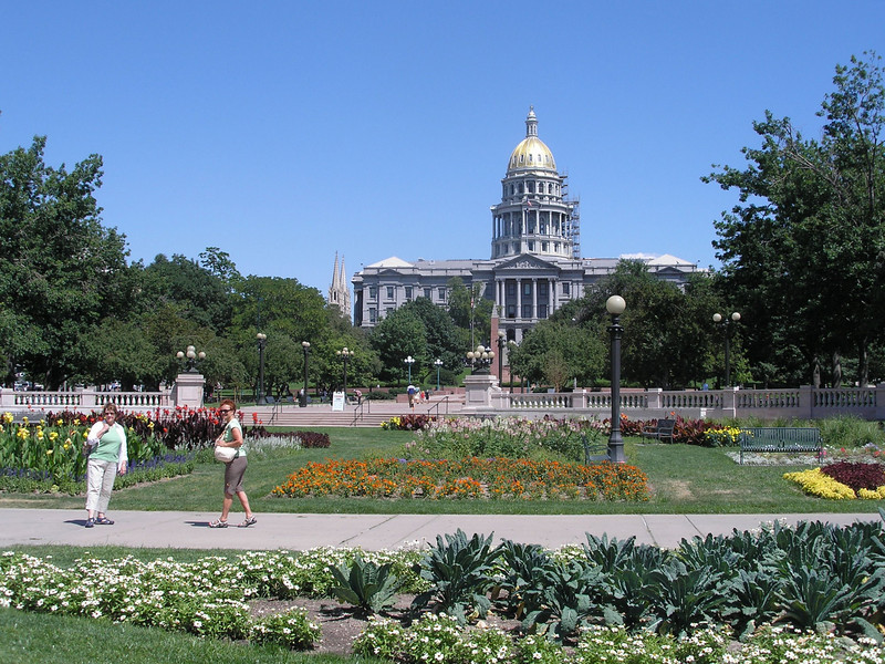 Gardens between city/county building and Colorado State Capital