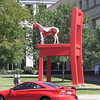 Horse on chair outside Public Library