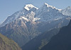 Jirbang (6062m) and Manapati (6380m) are still in front of Dhaulagiri, obscurring the lower flanks.