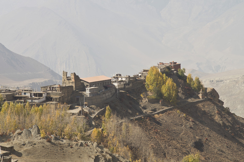 Looking back down on Jharkot. The red building is the Ghompa, and the big (partially falling apart) building is a ruined fort. I the fort was originally a palace for the king of Mustang.