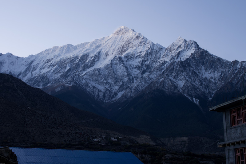 Nilgiri North in the morning, from Jomsom. Annapurna I is peaking out, just to the right of the prominent peak.