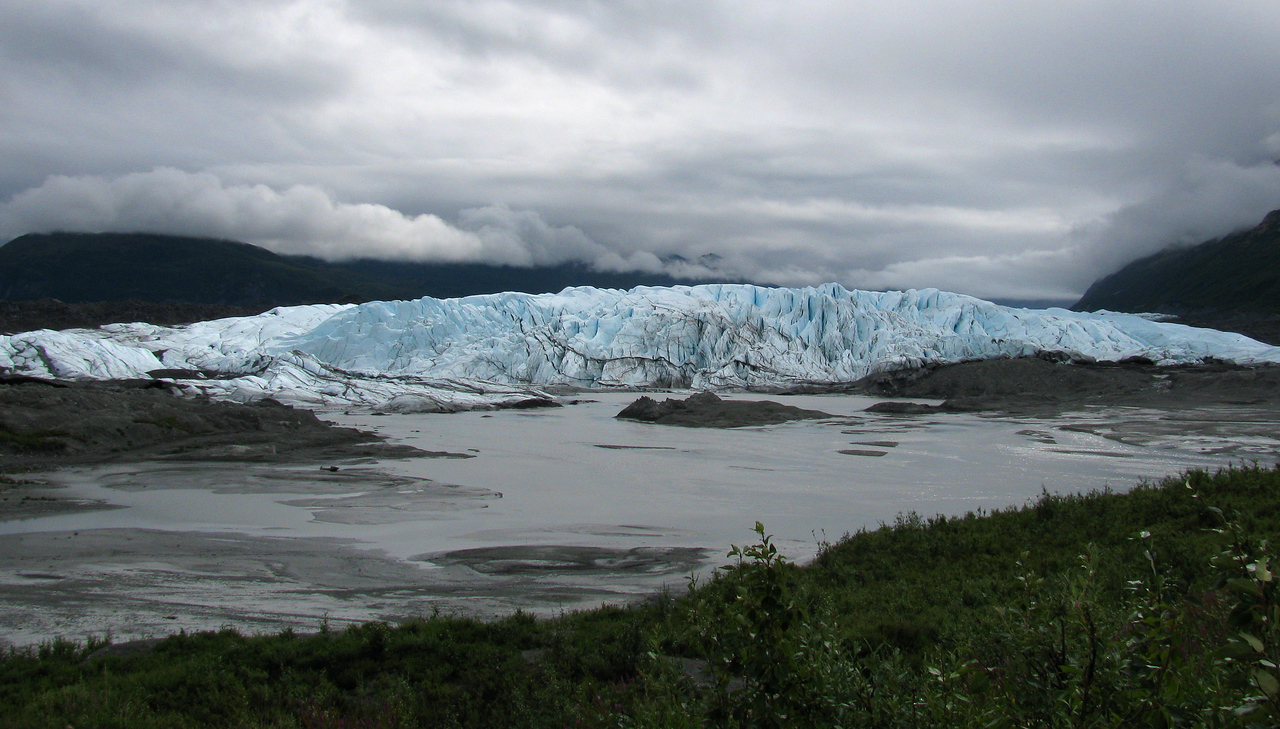 GLACIERS: Overview of the Matanuska glacier. about 60 miles east of Wasilla.