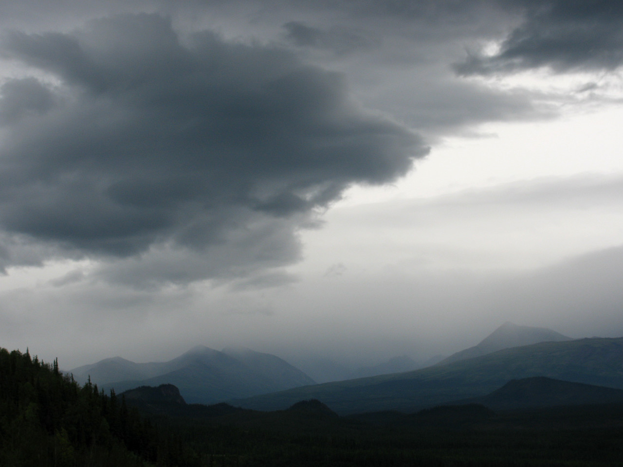 MOUNTAINS: Grey skies at the start of our bus tour through Denali National Park. (Judith's photo)