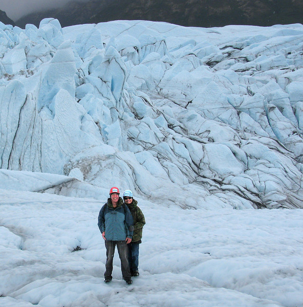 GLACIERS: Walking on the Matanuska glacier.