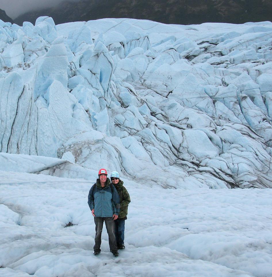 GLACIERS: Walking on the Matanuska glacier.