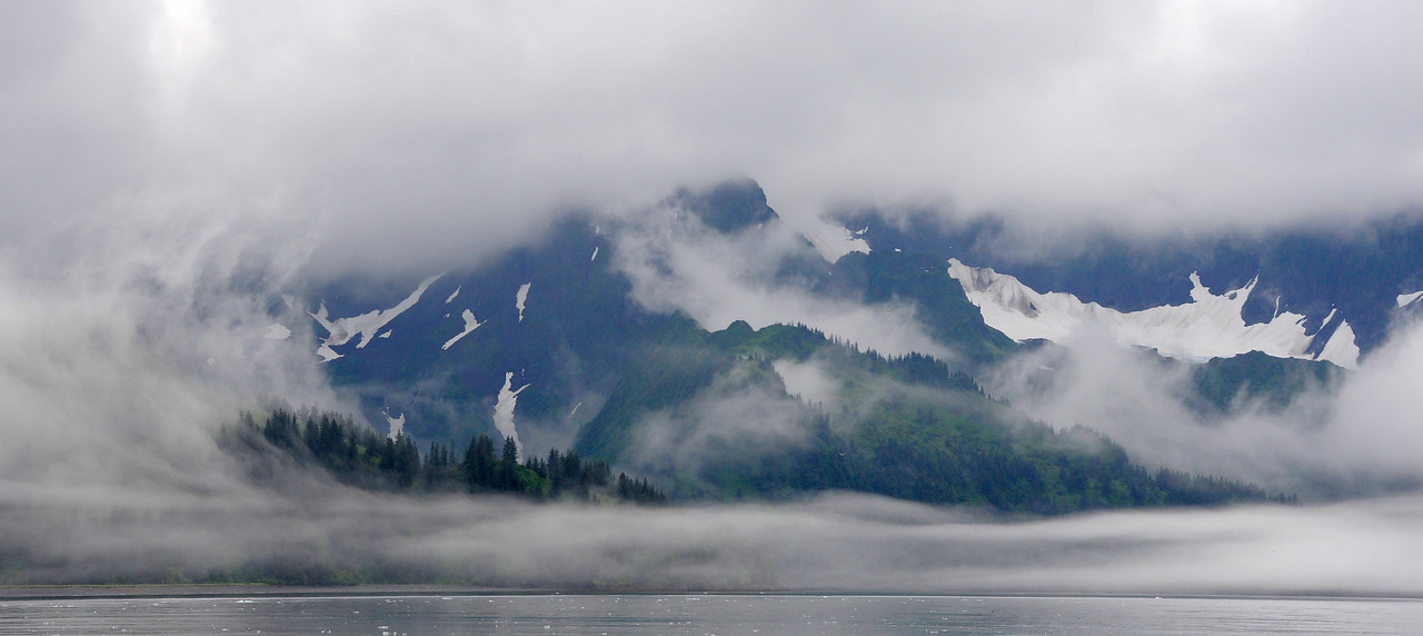 WATERVIEWS: Mountains in the Bay of Alaska outside Seward.