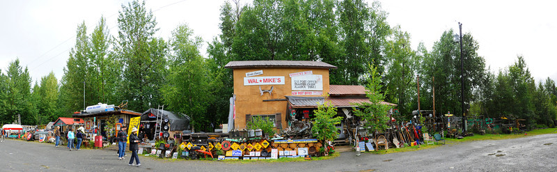 SUNDRIES: Panoramic view of Wal-Mike's on the road from Denali to Anchorage.