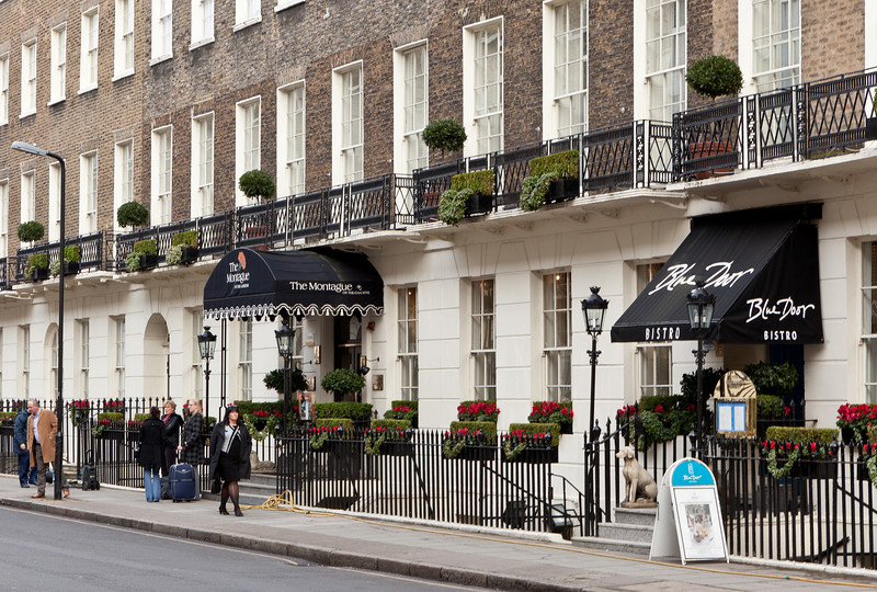 Our hotel, The Montague on the Gardens, and its restaurant -- just around the corner from the British Museum.