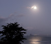 Looking across the bay toward New Plymouth on a full moon night.
