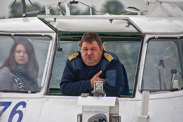 HYDROFOIL CAPTAIN AND GIRLFRIEND - TRIP BACK TO ST PETERSBURG FROM PETERHOF PALACE.