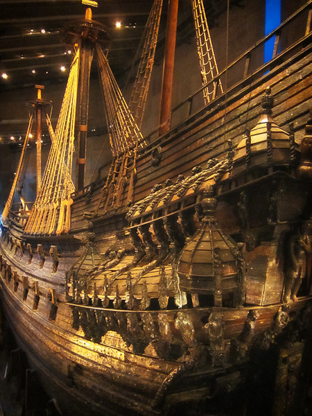 VASA MUSEUM -17TH CENTURY SWEDISH WARSHIP THAT SANK 1300 METRES OUT OF STOCKHOLM HARBOR ON MAIDEN VOYAGE.<br /> SALVAGED 1956.