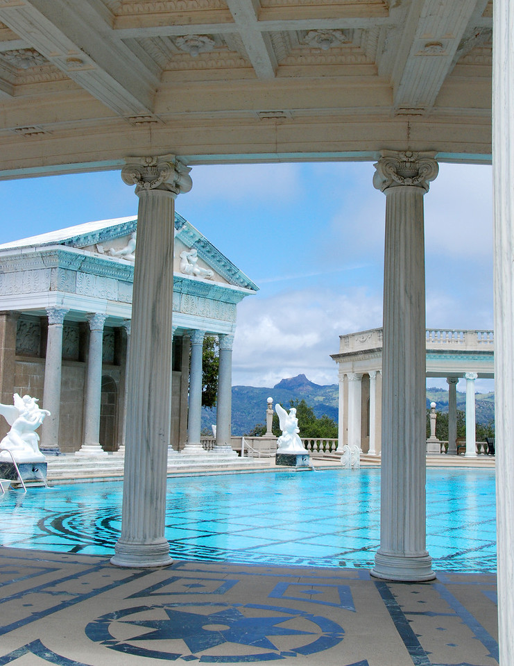 One view of the outdoor swiming pool at the Hearst Castle.