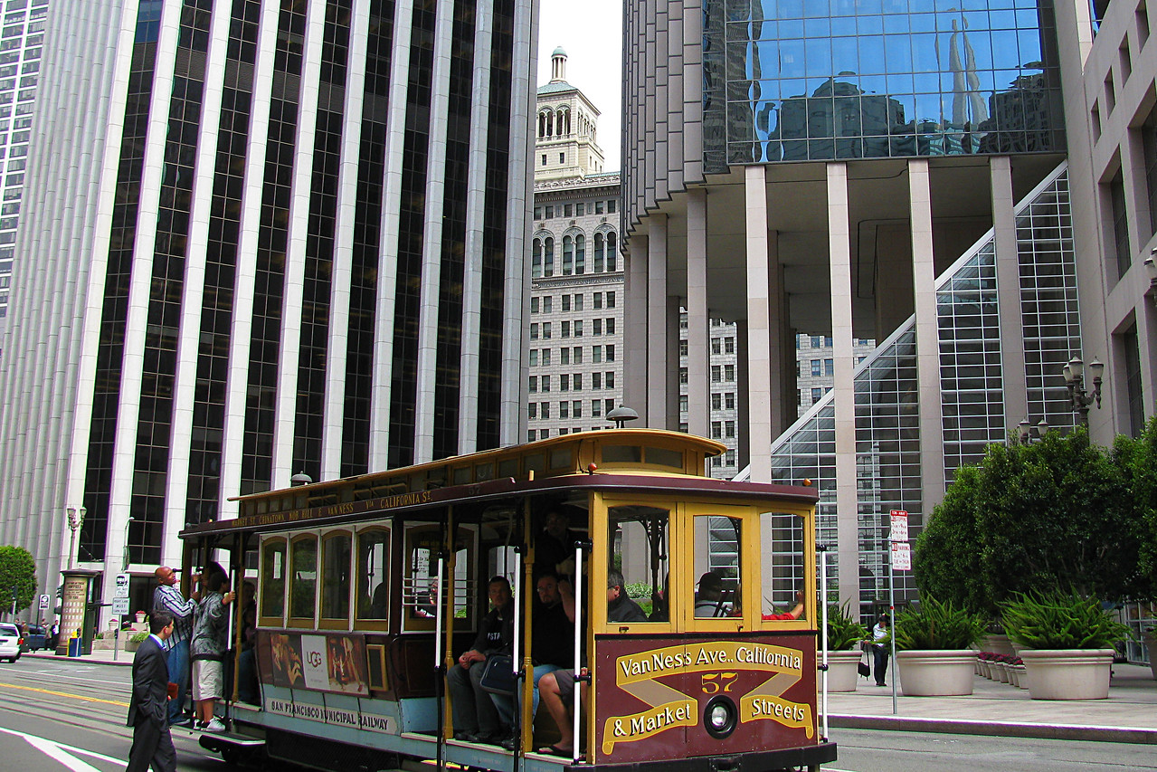 San Francisco Cable car among the modern skyscrapers taken during 2009 trip.