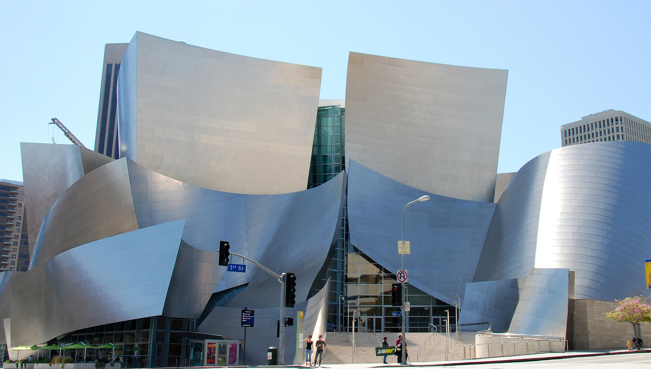 Overview of the Walt Disney Concert Hall in LA designed by Frank Gehry.