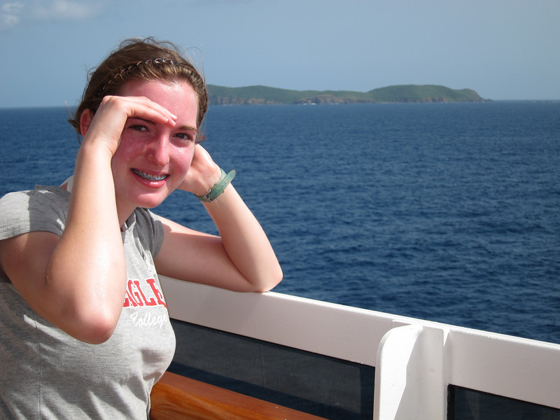 On the ship approaching St. Thomas and surrounding islands.