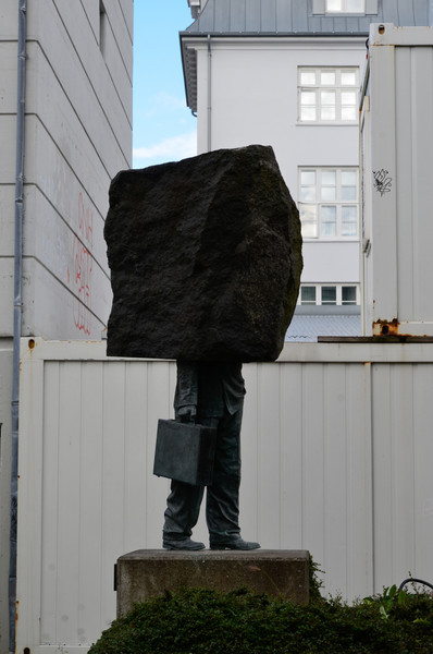 A sculpture called the Unknow Official in Reykjavik