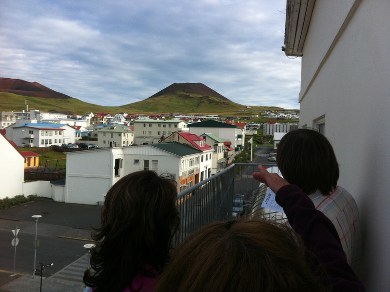 View of the volcano - we climbed both peaks - me twice - from the Hotel Eyjar balcony outside our rooms.