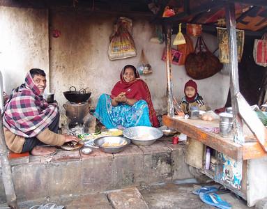 A family and their food cart. Patna, Bihar, India.