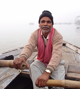 Boatman on the Ganges river