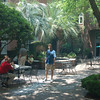 Nice and shady, guests sat out in the courtyard every day.