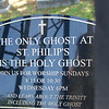 """Loved this sign in St. Philps churchyard.  Charleston is known for their """"ghost tours."""""""