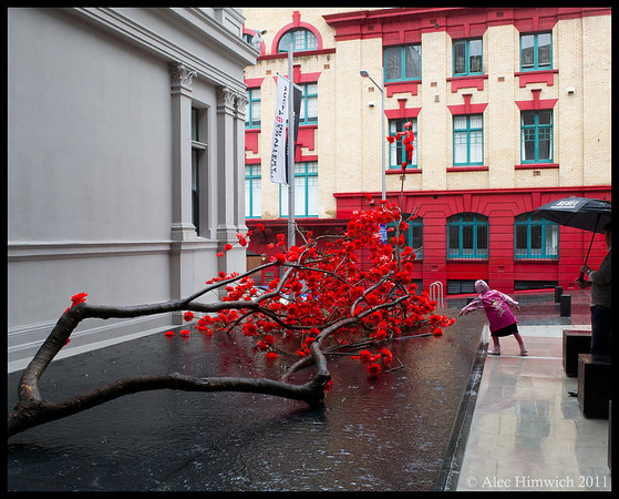 Red by Choi Jeong Hwa greets visitors to the Auckland Art Museum<br /> <br /> Auckland, NZ<br /> December 4, 2011<br /> 398