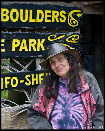 """Co-proprietor of the Wairere Boulders, """"Rita the Bushwoman""""<br /> <br /> This Swiss woman with her husband Felix developed the Wairere Boulders Nature Park and opened it as a private park in 2001.  Her husband told me that when they came to New Zealand, they lived there for three years entirely unknown to the various governmental agencies of New Zealand.  They finally announced their presence and eventually became tax paying citizens.<br /> <br /> Wairere Boulders Nature Park<br /> Hokianga, NZ<br /> November 19, 2011<br /> 081"""