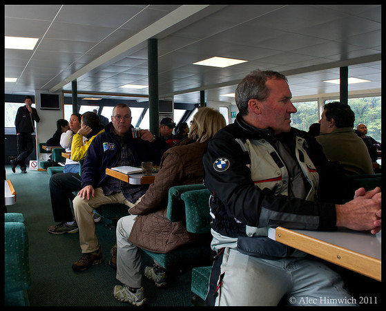 This is the cabin of the boat on which we took our Milford Sound cruise.  Although it appeared to be a hazy, cloudy, our guides assured us that we were lucky to have such a clear day.  Given that Fiordlands sees 7.5 m of rainfall per year, it is easy to imagine that tourist often take this cruise in much worse conditions.<br /> <br /> Milford Sound<br /> Fiordlands NP<br /> South Island, NZ<br /> November 24, 2011<br /> 148