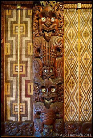Wall pillar carving from the Maori meeting house at the Waitangi Treaty Grounds. Each of the wall pillars of this meeting house is representative of a specific Maori tribe.<br /> <br /> Waitangi, NZ<br /> November 16, 2011