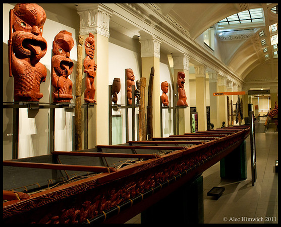 Maori War Canoe and carvings<br /> Auckland War Museum<br /> <br /> Auckland, New Zealand<br /> 003